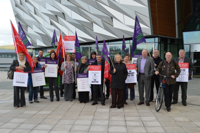 Unions stage joint protest at economic conference