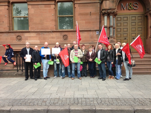 Unite NI members in M&S demo over job cuts