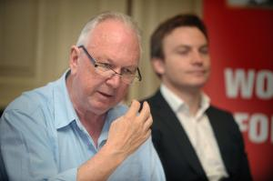Jimmy Kelly making a point at the launch.  Next to him is Paul Dillon of the Unite Youth Committee.